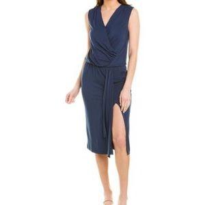 Navy Blue Dress Midi Modal Krisa Surplice Eclipse